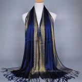 Écharpe visqueuse de femmes tissée rétro par musulmans avec Lurex d'or (H17)