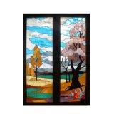 Van het huis Patronen van het Gebrandschilderd glas Beelden van de Als achtergrond van het Architectuurontwerp de Koele