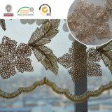 結婚式および織物C30004のための金によって玉を付けられる葉パターンレースのファブリック、Deliacateおよび素晴しい