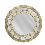 Vidro decorativo de madeira do espelho da arte da parede do espelho do vintage redondo