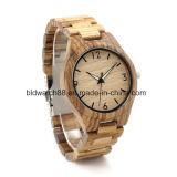 Qualidade Made Made Natural Zebra Relógios de madeira para homens