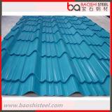 De color galvanizado recubierto de planchas onduladas acero de techo