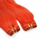 Trama reta de seda do cabelo humano de cor vermelha