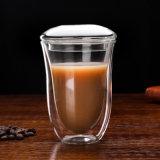 二重壁のガラスコーヒーカップのガラスカプチーノのコップ