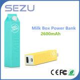 el mejor banco de la energía de la caja de la leche de la venta al por mayor del regalo 2600mAh para Smartphone