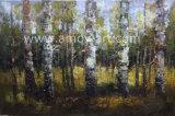ホーム装飾のためのキャンバスのパレットナイフの樺の木の油絵