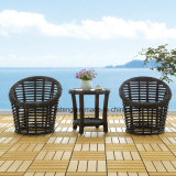 Outdoor Garden Small Set Mobiliário Coffee Chair & Table by Rattan tecido com moldura de alumínio (YT629)