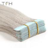 A fita cor de prata em extensões de cabelo humano cabelos lisos brasileiro 10uma trama de pele Hair máquina feita Remy 20PCS/Conjunto elaborado o cabelo de fita dupla de 2,5g/PC