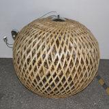 Lámpara pendiente natural de madera redonda del roble de Decoeative del hotel del estilo chino