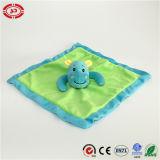 파란 하마 사랑스러운 아기 담요를 가진 녹색 연약한 Velboa