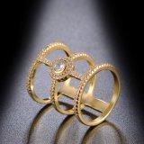 Anel de dedo longo chapeado da CZ da jóia do estilo o ouro o mais atrasado