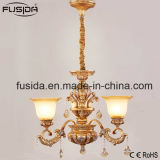 Iluminação de vidro luxuoso de cristal de bronze do candelabro para a decoração D-6131/3 da sala de estar
