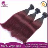 2tカラー1b赤いインドのバージンの毛は柔らかい光沢のある編む