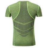 カスタム人は袖のスポーツの体操のスポーツ乾燥した適合のTシャツをショートさせる