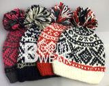 Женщин OEM на заказ дизайн ручной вязки POM POM Red Hat Beanie зимой