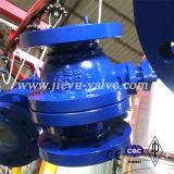 API6d cuerpo de fundición de acero al carbono Wcb 3piezas montado en el muñón de brida Válvula de bola