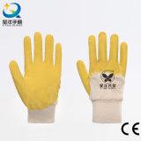 Перчатки работы безопасности латекса 3/4 раковины блокировки хлопка покрынные (L024)