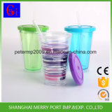 Großhandels-BPA geben Eiscreme-Becher, doppel-wandige Plastiksaft-Trommel mit Stroh frei (SG-N001)