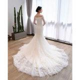 Dünnes passendes hohes langes Blumennixe-/Trompete-Brauthochzeits-Kleid