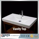 Modèle de marbre blanc de dessus de vanité de salle de bains/dessus en pierre de salle de bains