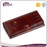 Бумажник зерна крокодила с напечатанной бабочкой, высоким качеством бумажника неподдельной кожи женщины