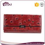 Изготовленный на заказ бумажник женщин зерна страуса неподдельной кожи повелительницы Кожи Бумажника Красн 100%