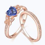 Jewellry de plata con el corazón de mariposa cortar Juego de anillo de zafiro