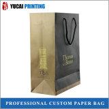 Bolso de compras de papel nuevamente diseñado con insignia del oro