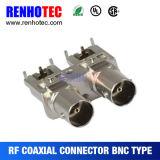 Connecteur femelle de plastique de carte du double noir R/a BNC de support