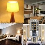 La luz E26 5W del maíz del LED calienta la lámpara de plata blanca del bulbo de la carrocería LED del color