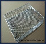 Panier en fil d'acier inoxydable revêtu de plastique pour les achats