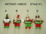 """8 het Ornament van Kerstmis van """" Hx5.5 """" L met Houten teken-4asst-Kerstmis Decoratie"""