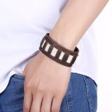 Großhandelsform-Schmucksache-breites echtes Ledermens-Stulpe-Armband