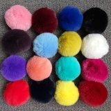 良質の偽造品のウサギの毛皮の球のKeychainの毛皮POM
