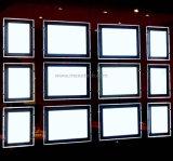 Display de janela acrílica de LED publicitário com painel de luz