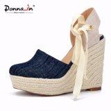 Ботинки сандалий клина веревочки женщин высоких пяток повелительницы Demin Lace-up