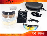 Da lente ao ar livre do revestimento UV400 da venda por atacado 2016 óculos de proteção de ciclagem de venda quentes que dão um ciclo óculos de sol do esporte com a lente 5 permutável