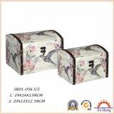 2-PC se dirigen el rectángulo de regalo antiguo de madera del rectángulo de almacenaje de la maleta de los muebles con la tela impresa