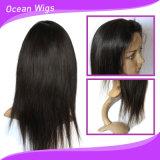 Virgem Brasileira Reta natural de cabelo humano Lace Peruca Dianteiro