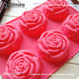 Rose rouge Cupcake en caoutchouc de silicone en forme de feuilles de cuisson des aliments