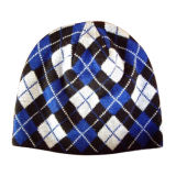 차가운 인쇄를 가진 회색 뜨개질을 한 모자 (JRK163)