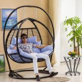 新しい屋外の振動卵の椅子、PEの藤の家具、藤のバスケットの複座機(D151C)