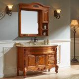 Armário de vaidade de armazenamento de banheiro de carvalho vermelho pintado europeu (GSP14-008)