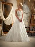 Embroidary que perla o vestido de casamento nupcial da praia
