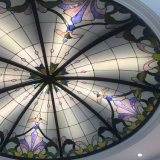 Forme ronde Custom House Roof Tiffany Luminaires en verre souillé Dome Structure