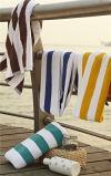工場卸し売りホテル100の綿の青および白い縞の水泳タオルのビーチタオル