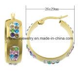 De Geplateerde Nagel Earring&#160 van de Manier van de Steen van de Kleuren van de Juwelen van Shineme Goud; (ERS6917)