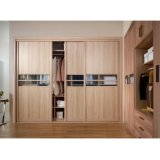 Portes en bois en bois des graines et en verre 3 de trempe glissant le cabinet