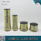 De goud de Gekleurde Kosmetische Fles van het Glas en Kruik van de Room van het Glas