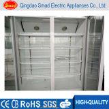 Refrigerador transparente da porta dobro do refrigerador vegetal comercial do alimento